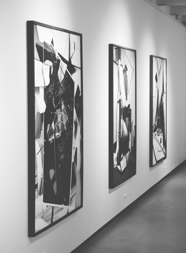 black white art exhibition