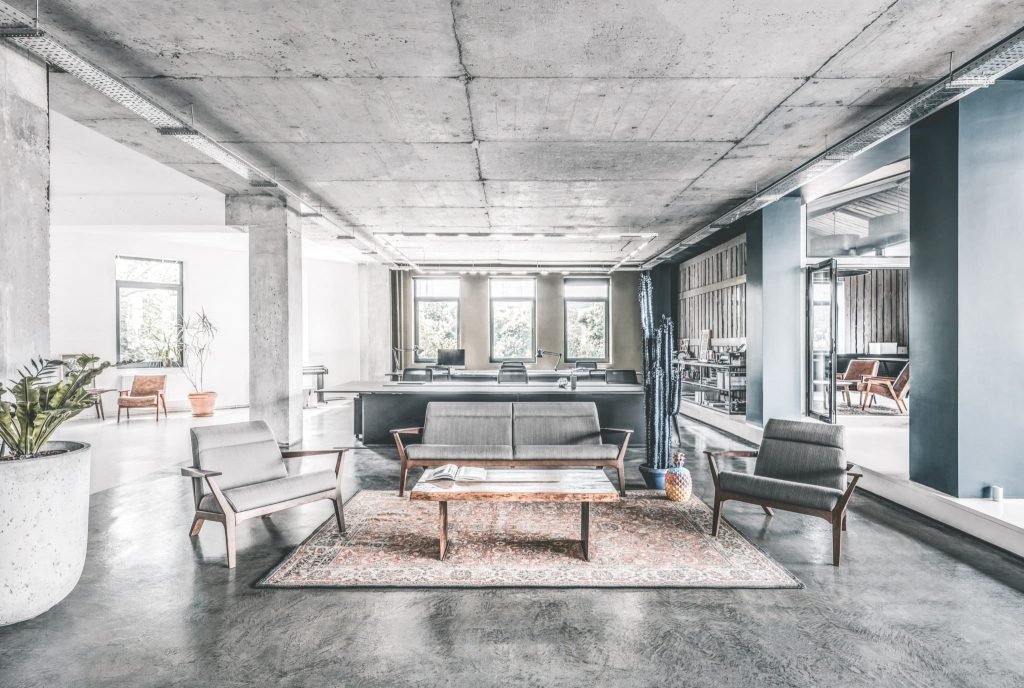 modern industrial gray office