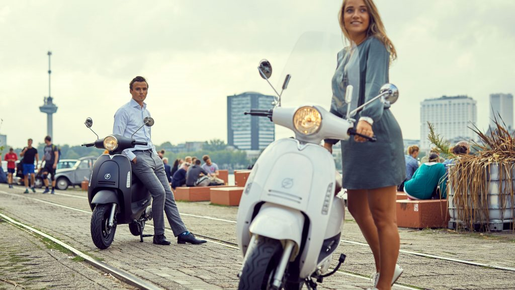 white electric scooter
