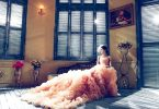 bride in pink dress